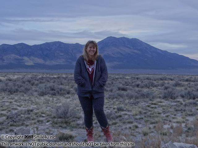 <B>Char the Explorer standing close to the property for sale in Montello, Nevada in October 2014. That