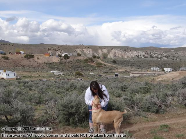 <B>Amber and her beloved Angel in Kittridge Canyon in April 2014.  I love the white washed hillsides that are splashed about Kittridge Canyon about 4 miles N of Elko. It