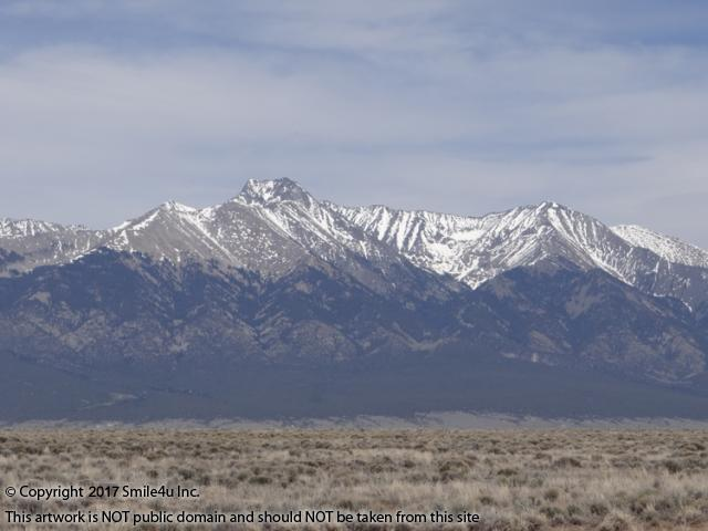 <B>A lovely view of Blanca Peak in the Sangre de Cristo Mountains across the San Luis Valley in Blanca, Colorado. It